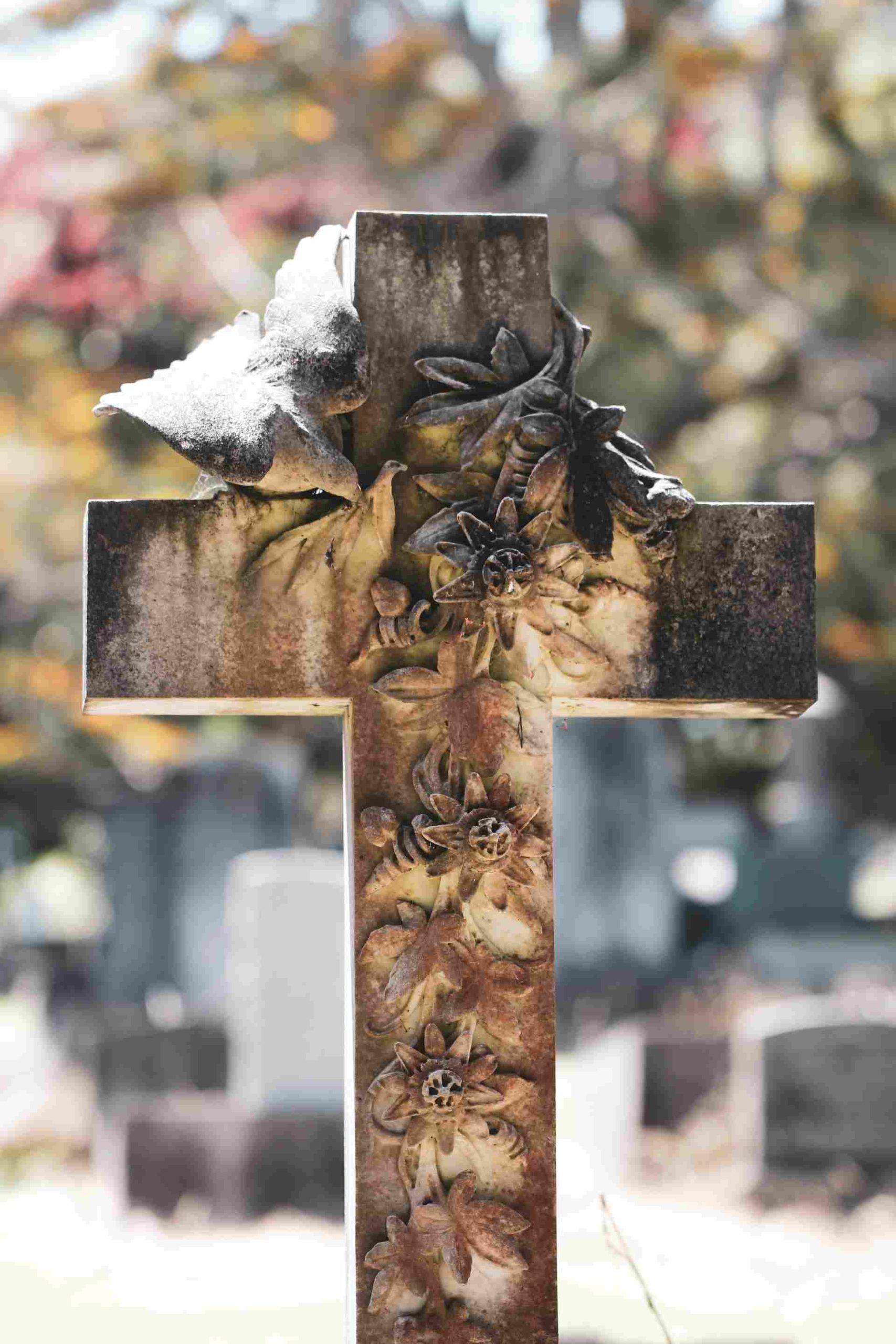 крест с цветами