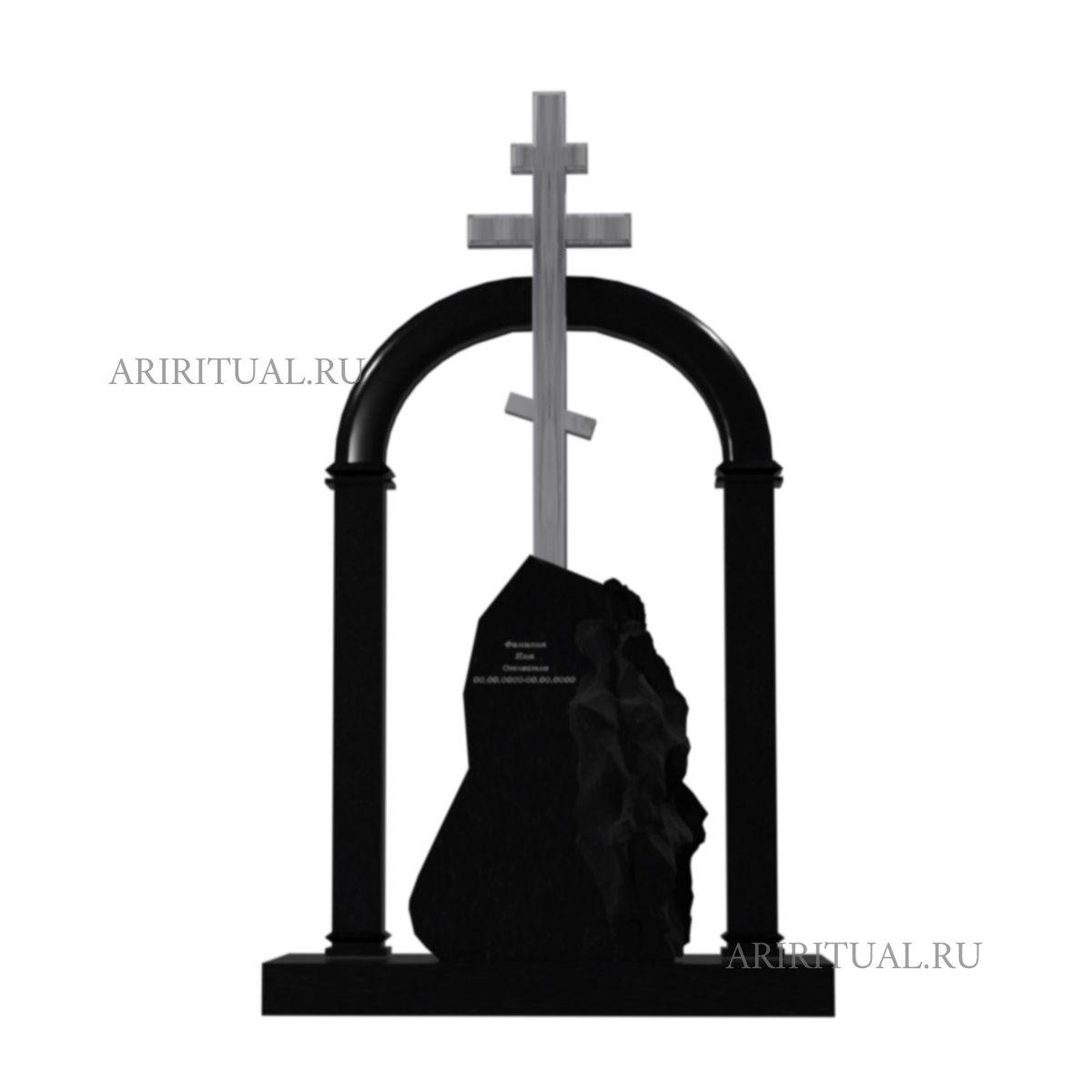 Памятник с крестом на камне
